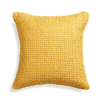 "Lanzo Yellow 18"" Pillow with Feather-Down Insert"