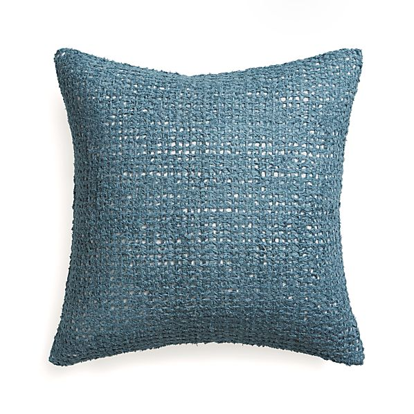 "Lanzo Blue 20"" Pillow with Feather Insert"