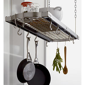 Large Grey Ceiling Pot Rack