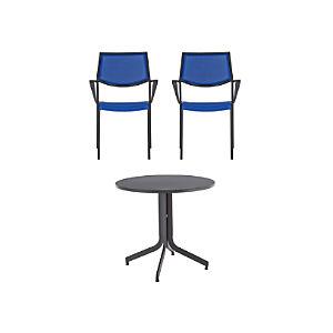 Largo 3-Piece Fliptop Round Dining Table Set with Mediterranean Blue Chairs