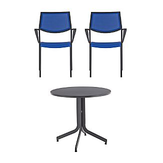 Largo 3-Piece Fliptop Round Dining Table Set with Mediterranean Blue Chairs