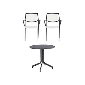 Largo 3-Piece Fliptop Round Dining Table Set with White Chairs