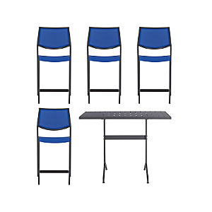 Largo 5-Piece High Dining Set with Mediterranean Blue Stools