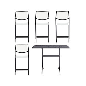 Largo 5-Piece High Dining Set with White Stools