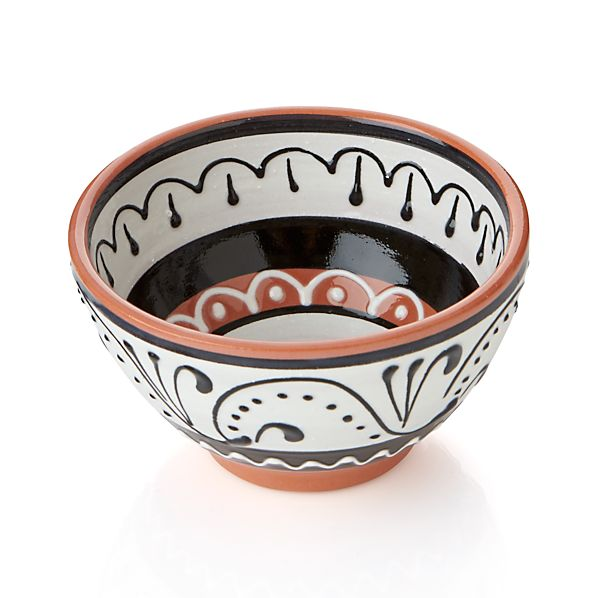 "Las Ramblas 4"" Black and White Bowl"