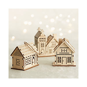 Laser Cut Wood House Ornaments Set of Three