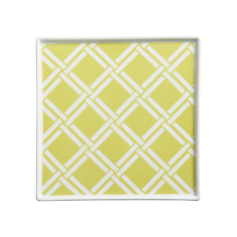 Versatile white porcelain serving square is decorated on the inside with a contemporary Asian lattice motif.<br /><br /><NEWTAG/><ul><li>Porcelain</li><li>Dishwasher-safe</li></ul>