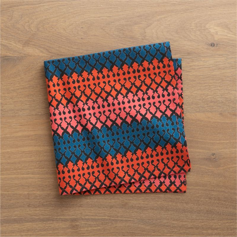 Vibrantly colored, intricately patterned napkin takes its cue from traditional Indian textiles. Screen printed by hand on 100% cotton.<br /><br /><NEWTAG/><ul><li>100% cotton</li><li>Machine wash, tumble dry; warm iron as needed</li><li>Do not dry clean</li><li>Made in India</li></ul>