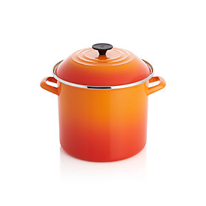 Le Creuset ® 10qt. Flame Enamel Stock Pot with Lid