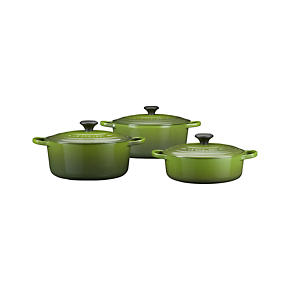 Le Creuset Round Spinach French Ovens with Lids