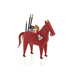 Leather Horse Desk Organizer