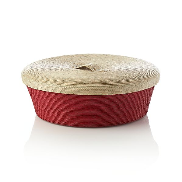 Lidded Red Large Basket