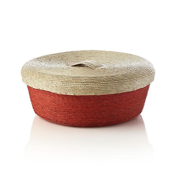 Lidded Orange Medium Basket