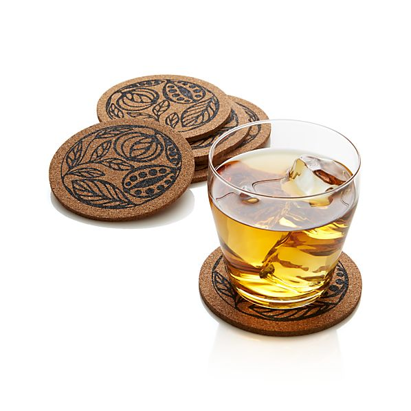 Set of 6 Lill Cork Coasters
