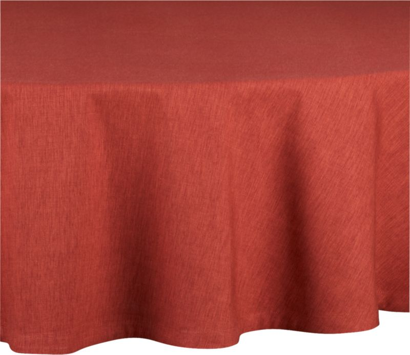 "Richly textured cotton-rayon tablecloth is woven in a tone-on-tone hue for all year round. Custom-tailored with 1.5"" hem and mitered corners.<br /><br /><NEWTAG/><ul><li>Cotton-rayon blend tablecloths</li><li>Packaged in a reusable self-fabric storage bag</li><li>Oversized to allow for shrinkage</li><li>Machine wash tablecloth cold, tumble dry low, and iron damp</li></ul>"