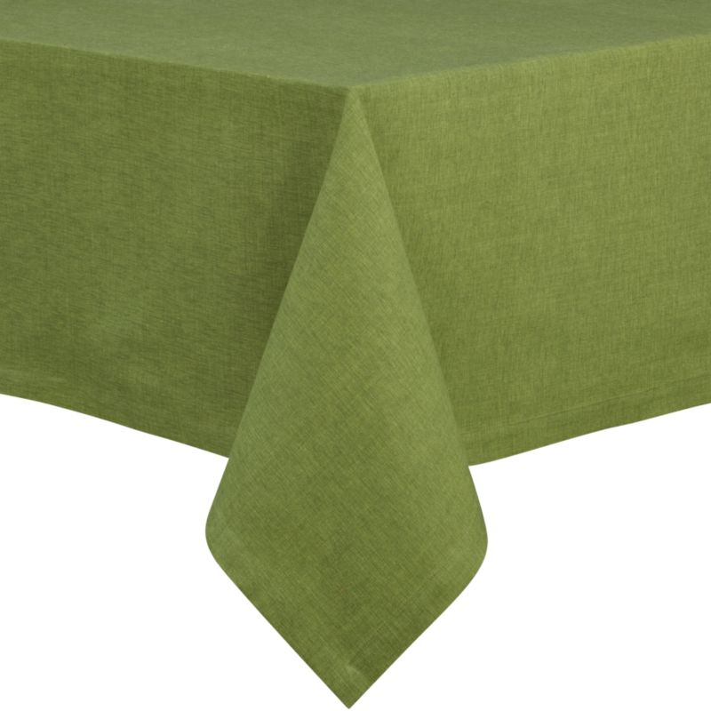 "Richly texutred cotton-rayon tablecloth is woven in a tone-on-tone hue for all year round. Custom-tailored with 1.5"" hem and mitered corners.<br /><br /><NEWTAG/><ul><li>Cotton-rayon blend</li><li>Packaged in a reusable self-fabric storage bag</li><li>Oversized to allow for shrinkage</li><li>Machine wash cold, tumble dry low, and iron damp; or dry clean</li></ul>"