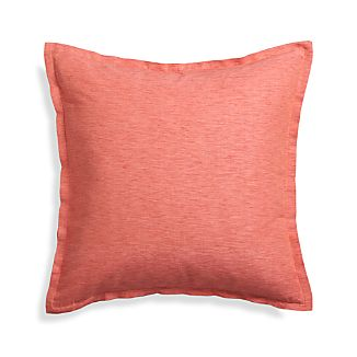 "Linden Coral 23"" Pillow with Feather Insert"
