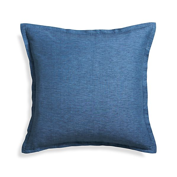 "Linden Indigo 23"" Pillow with Feather-Down Insert"