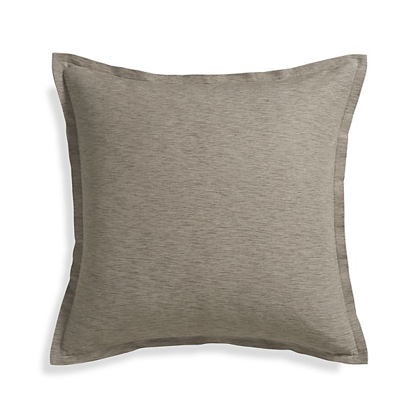 "Linden Mushroom Grey 23"" Pillow with Feather-Down Insert"