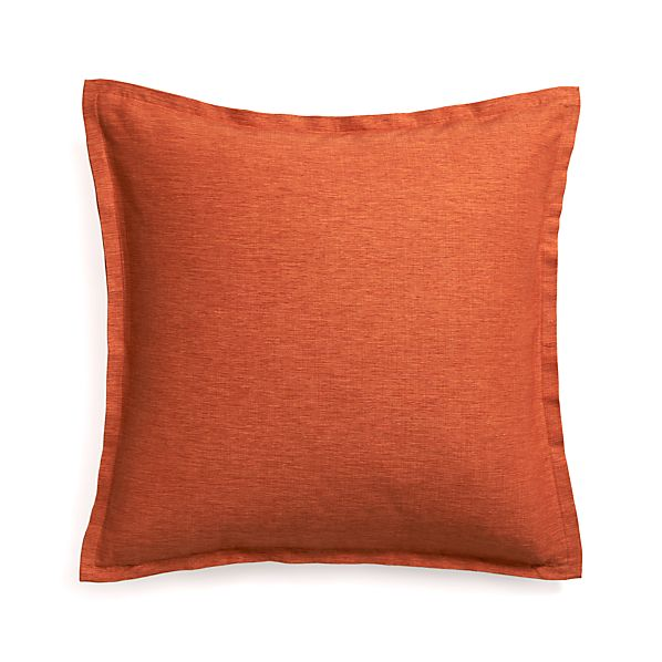 "Linden Orange 23"" Pillow with Feather Insert"