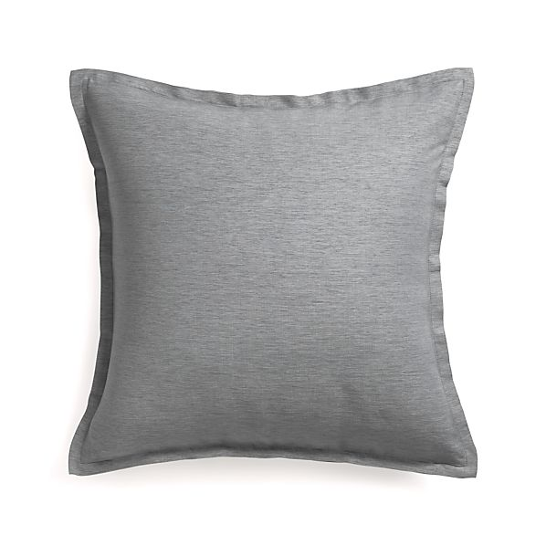 "Linden Pewter 23"" Pillow with Feather Insert"