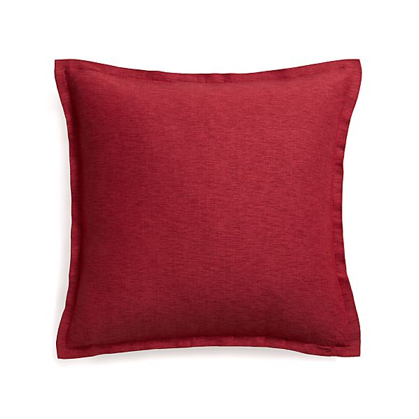 "Linden Red 23"" Pillow with Down-Alternative Insert"