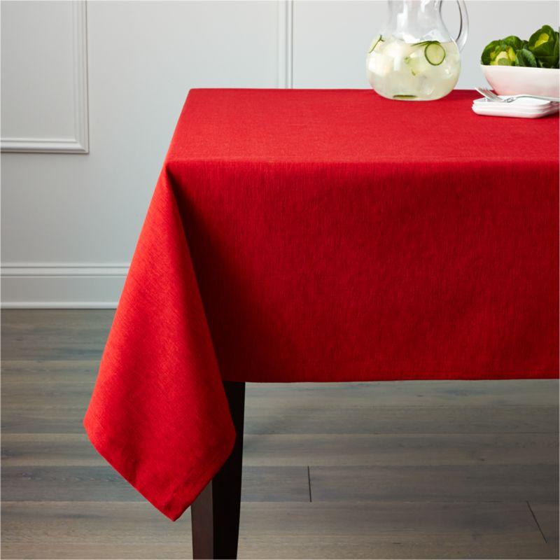 """Richly textured cotton-rayon tablecloth is woven in a tone-on-tone hue for all year round. Custom-tailored with 1.5"""" hem and mitered corners.<br /><br /><NEWTAG/><ul><li>Cotton-rayon blend</li><li>Packaged in a reusable self-fabric storage bag</li><li>Oversized to allow for shrinkage</li><li>Machine wash cold, tumble dry low, and iron damp; or dry clean</li><li>Made in India</li></ul><br />"""