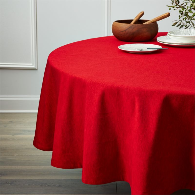 "Richly textured cotton-rayon tablecloth is woven in a tone-on-tone hue for all year round. Custom-tailored with 1"" hem.<br /><br /><NEWTAG/><ul><li>Cotton-rayon blend</li><li>Packaged in a reusable self-fabric storage bag</li><li>Oversized to allow for shrinkage</li><li>Machine wash cold, tumble dry low, and iron damp; or dry clean</li><li>Made in India</li></ul>"