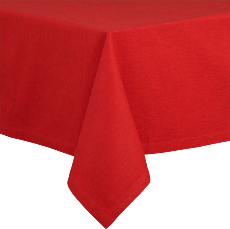 "Richly textured cotton-rayon tablecloth is woven in a tone-on-tone hue for all year round. Custom-tailored with 1.5"" hem and mitered corners.<br /><br /><NEWTAG/><ul><li>Cotton-rayon blend</li><li>Packaged in a reusable self-fabric storage bag</li><li>Oversized to allow for shrinkage</li><li>Machine wash cold, tumble dry low, and iron damp; or dry clean</li><li>Made in India</li></ul><br />"