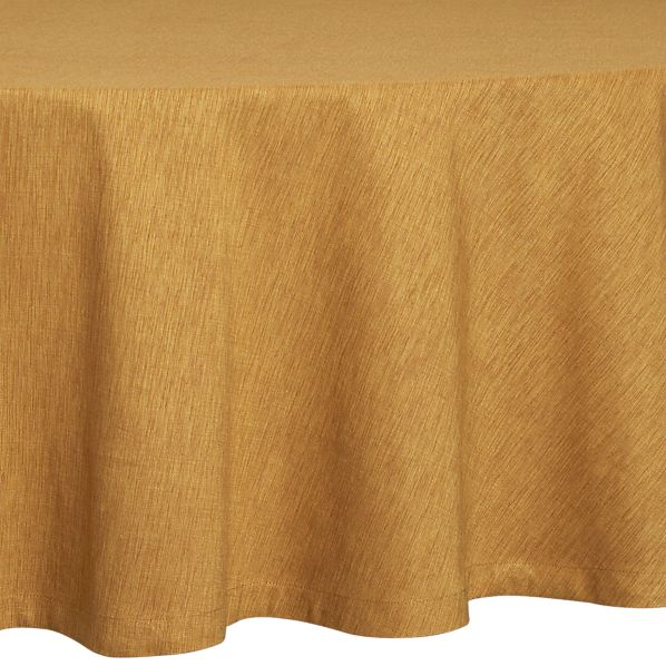 "Linden Butterscotch 90"" Round Tablecloth"