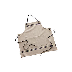 Linen Apron with Leather Ties