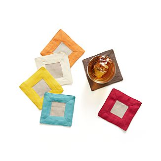 Set of 6 Linen Border Coasters
