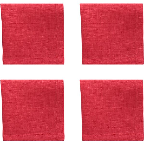 Set of 4 Linen Azalea Cocktail Napkins