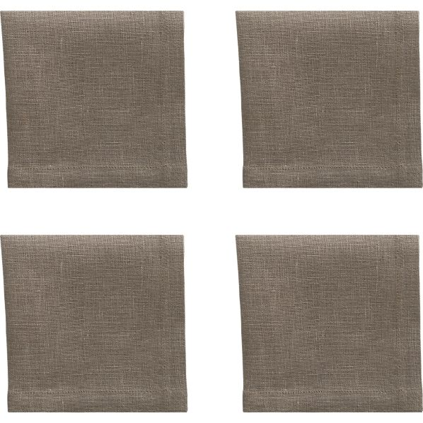Set of 4 Linen Brindle Cocktail Napkins