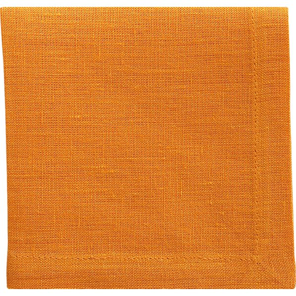 Set of 8 Linen Marigold Cocktail Napkins