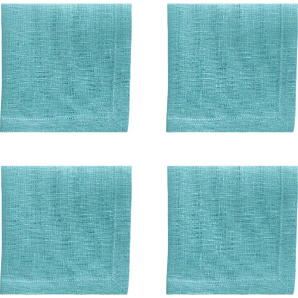 Set of 4 Linen Ocean Cocktail Napkins