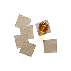 Set of 6 Natural Linen Coasters