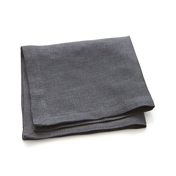 Linen Graphite Cocktail Napkins Set of Eight