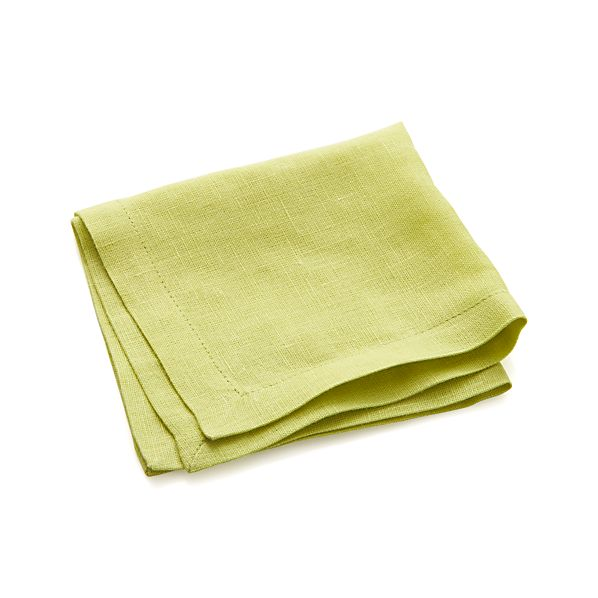 Linen Lime Cocktail Napkins Set of Eight