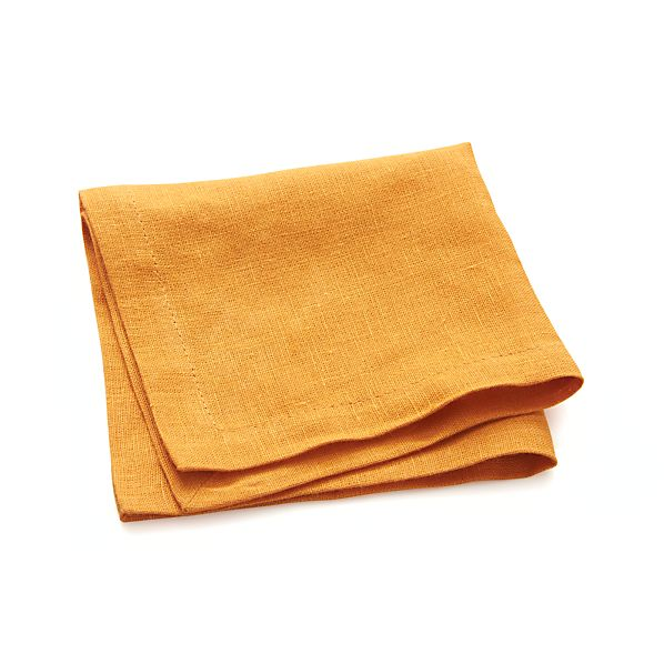 Linen Marigold Cocktail Napkins Set of Eight