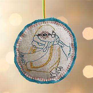Linen Embroidered Bird Ornament