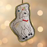 Linen Embroidered Deer Ornament