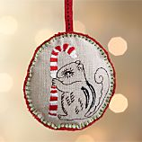 Linen Embroidered Squirrel Ornament