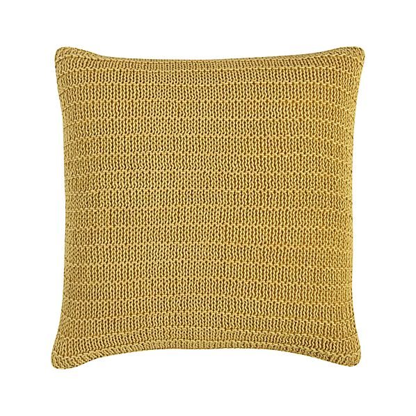 "Linen Knit Gold 18"" Pillow with Down-Alternative Insert"
