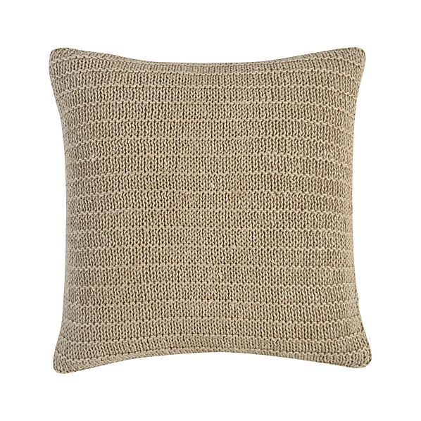 "Linen Knit Natural 18"" Pillow with Down-Alternative Insert"
