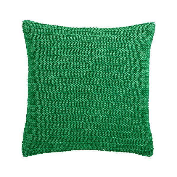 "Linen Knit Green 18"" Pillow with Feather-Down Insert"