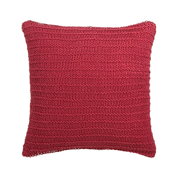 "Linen Knit Red 18"" Pillow with Down-Alternative Insert"