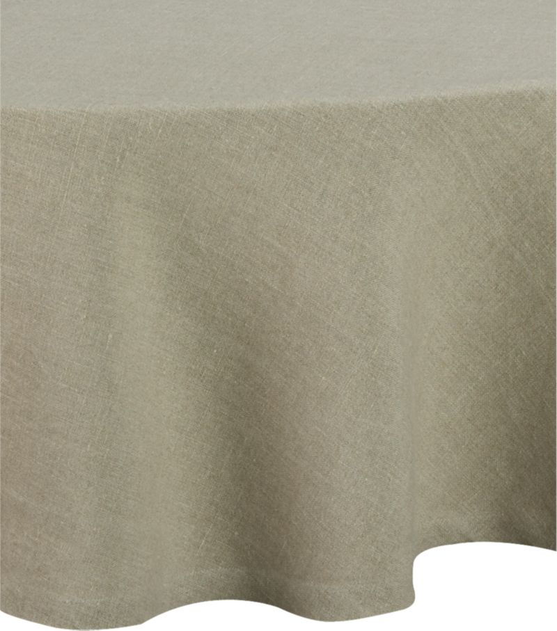 "Pure, natural linen is stonewashed for exceptional softness and heirloom looks that age gracefully. Woven of sustainable, renewable flax, tablecloth will develop a subtle sheen after each wash. Fashioned with graceful 2"" hems.<br /><br /><NEWTAG/><ul><li>100% linen woven of eco-friendly flax</li><li>Machine wash, reshape and dry flat; warm iron as needed</li><li>Made in India</li></ul>"