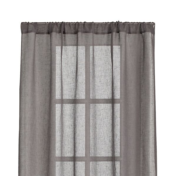 Linen sheer grey 52 quot x96 quot curtain panel crate and barrel