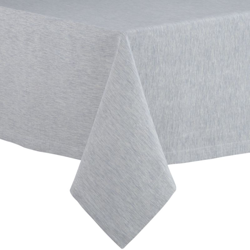 "Richly textured cotton-rayon tablecloth is woven in a tone-on-tone hue for all year round. Custom-tailored with 1.5"" hem and mitered corners.<br /><br /><NEWTAG/><ul><li>Cotton-rayon blend tablecloths</li><li>Packaged in a reusable self-fabric storage bag</li><li>Oversized to allow for shrinkage</li><li>Machine wash tablecloth cold, tumble dry low, and iron damp</li><li>Made in India</li></ul>"